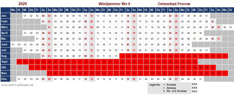Belegungsplan Haus Windjammer